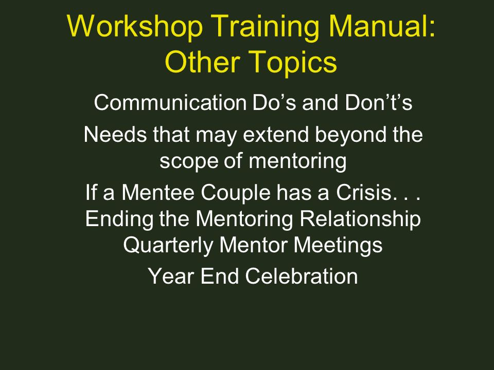 Workshop Training Manual: Other Topics