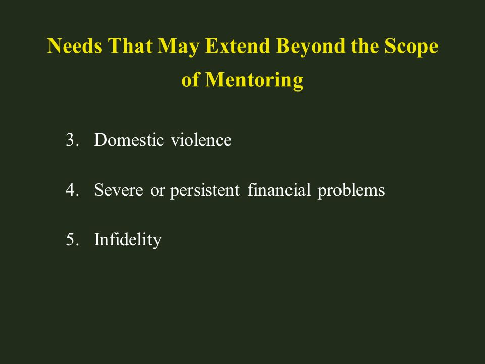 Needs That May Extend Beyond the Scope of Mentoring