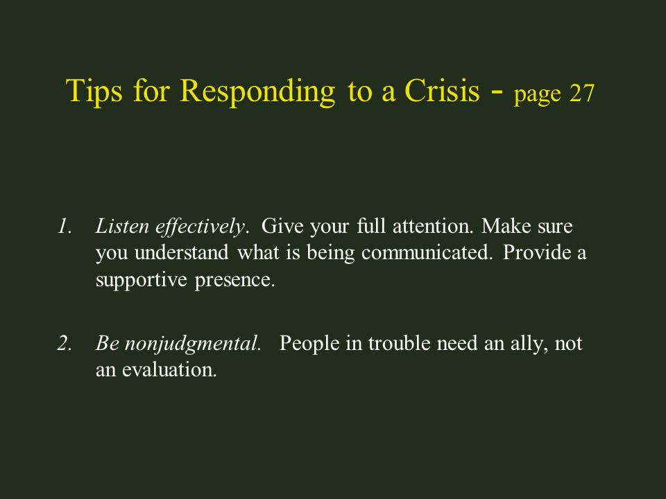 Tips for Responding to a Crisis - page 27