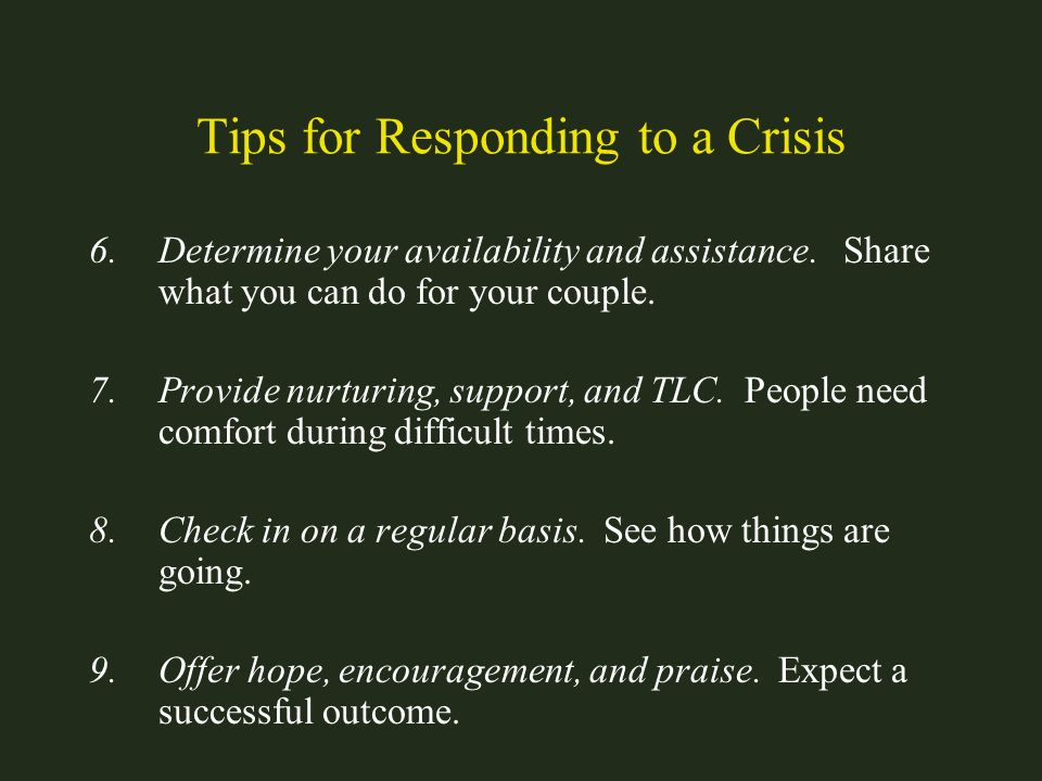 Tips for Responding to a Crisis
