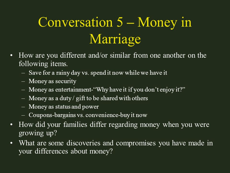 Conversation 5 – Money in Marriage