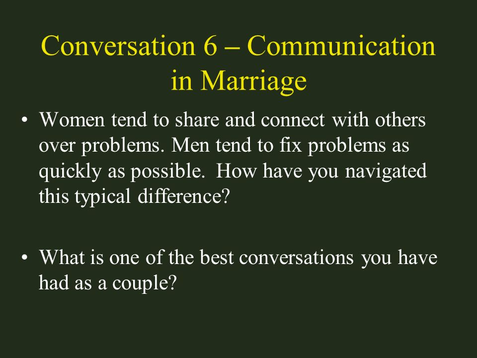 Conversation 6 – Communication in Marriage