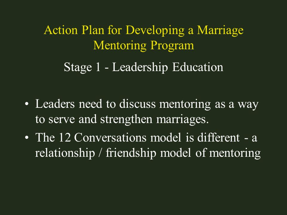 Action Plan for Developing a Marriage Mentoring Program