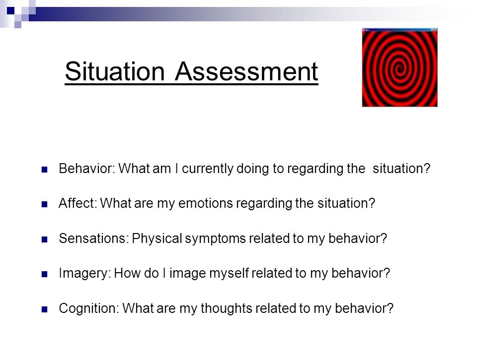 Situation Assessment Behavior: What am I currently doing to regarding the situation Affect: What are my emotions regarding the situation
