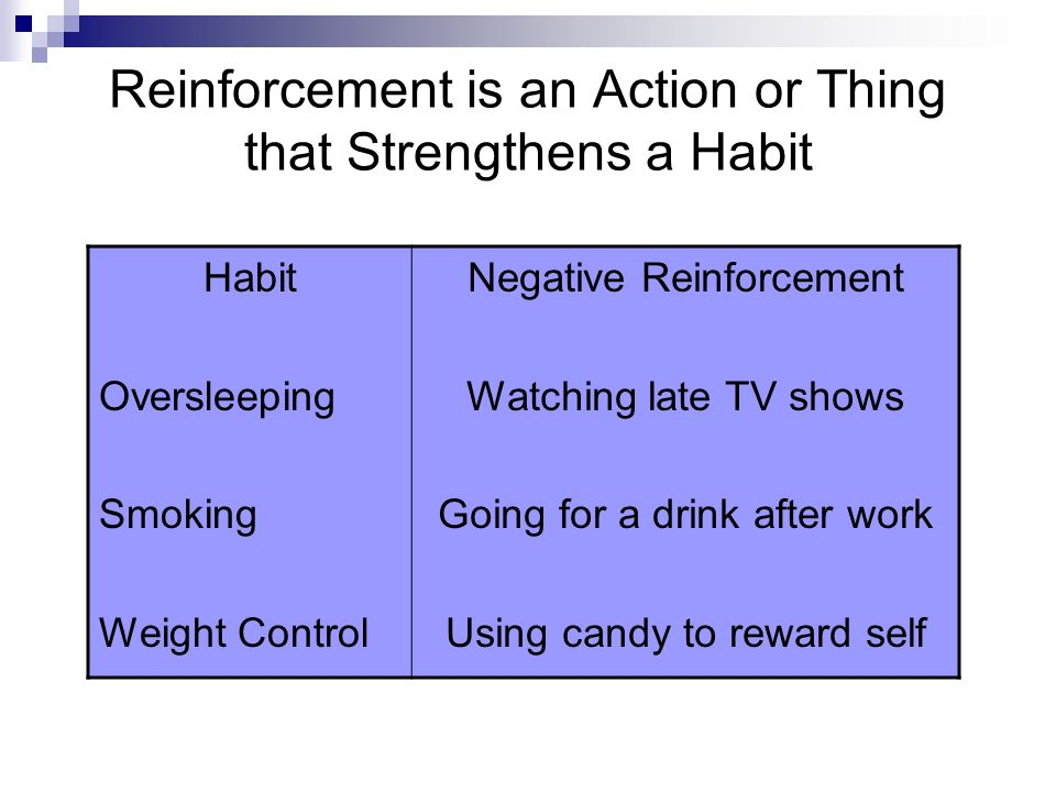Reinforcement is an Action or Thing that Strengthens a Habit