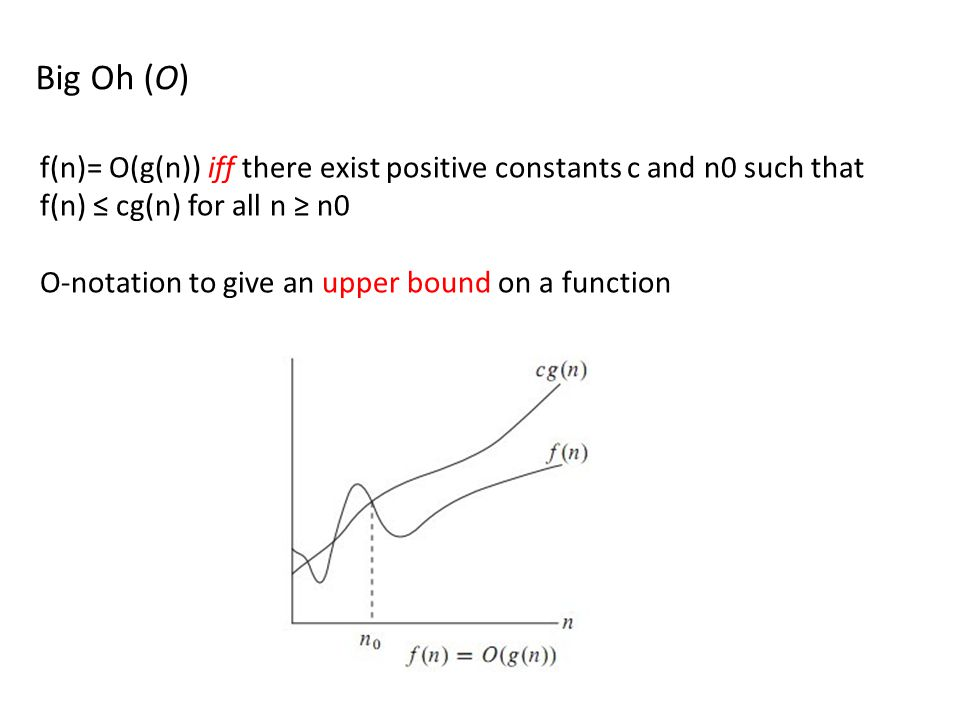 Big Oh (O) f(n)= O(g(n)) iff there exist positive constants c and n0 such that f(n) ≤ cg(n) for all n ≥ n0.