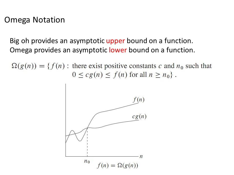 Omega Notation Big oh provides an asymptotic upper bound on a function.