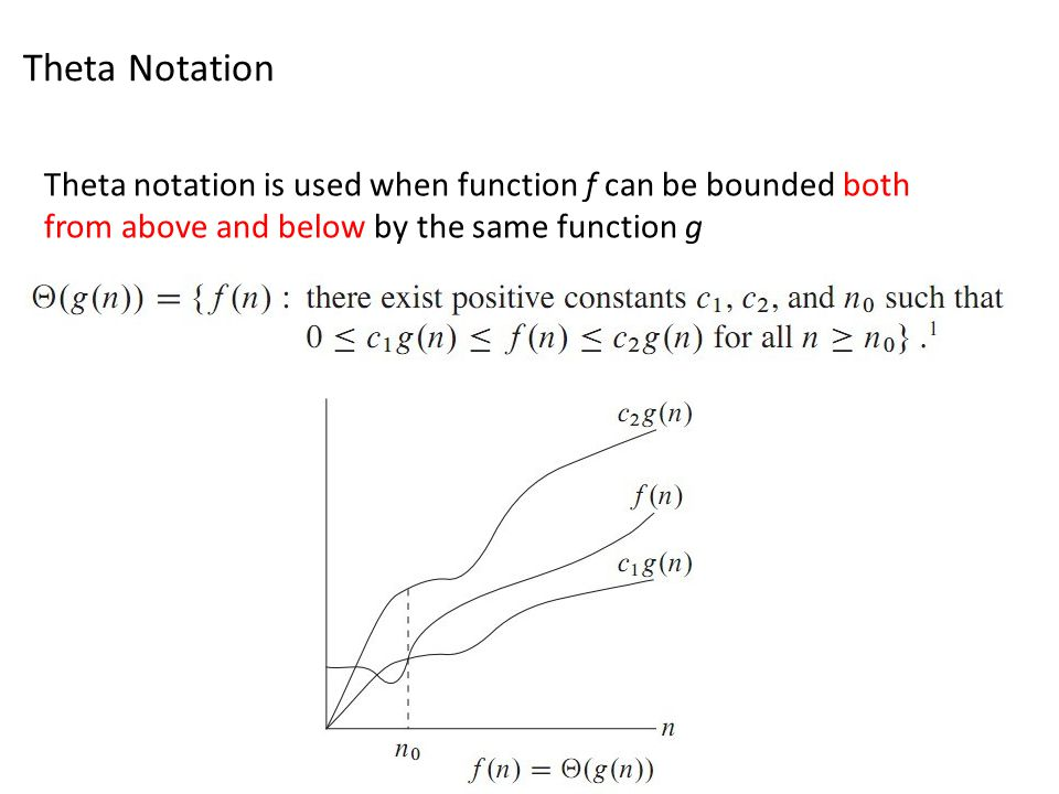 Theta Notation Theta notation is used when function f can be bounded both from above and below by the same function g.