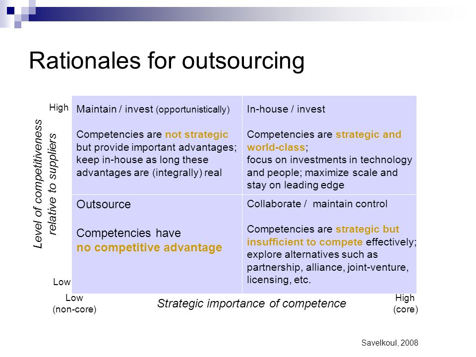 Rationales for outsourcing
