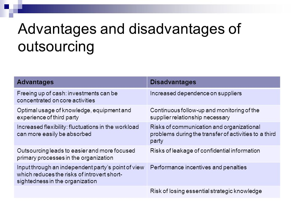 Advantages and disadvantages of outsourcing