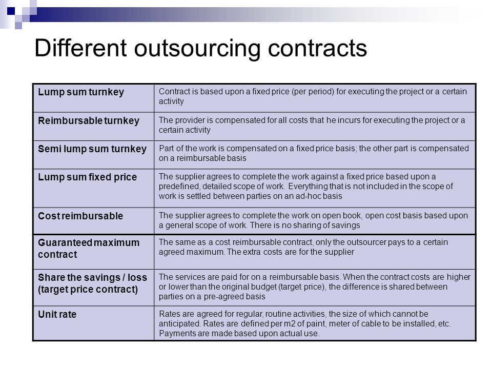Different outsourcing contracts