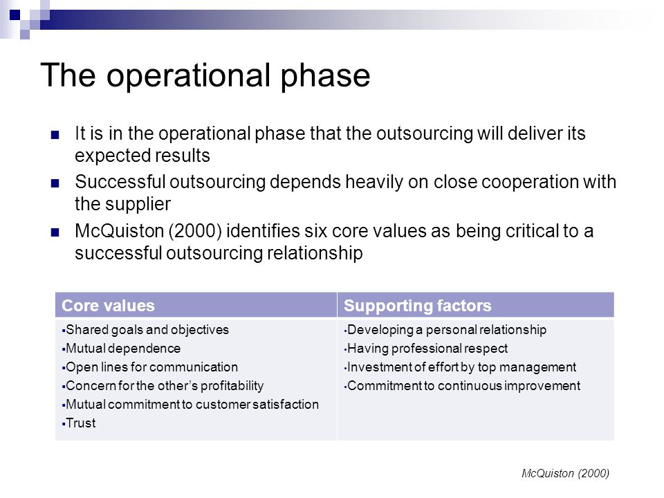 The operational phaseIt is in the operational phase that the outsourcing will deliver its expected results.
