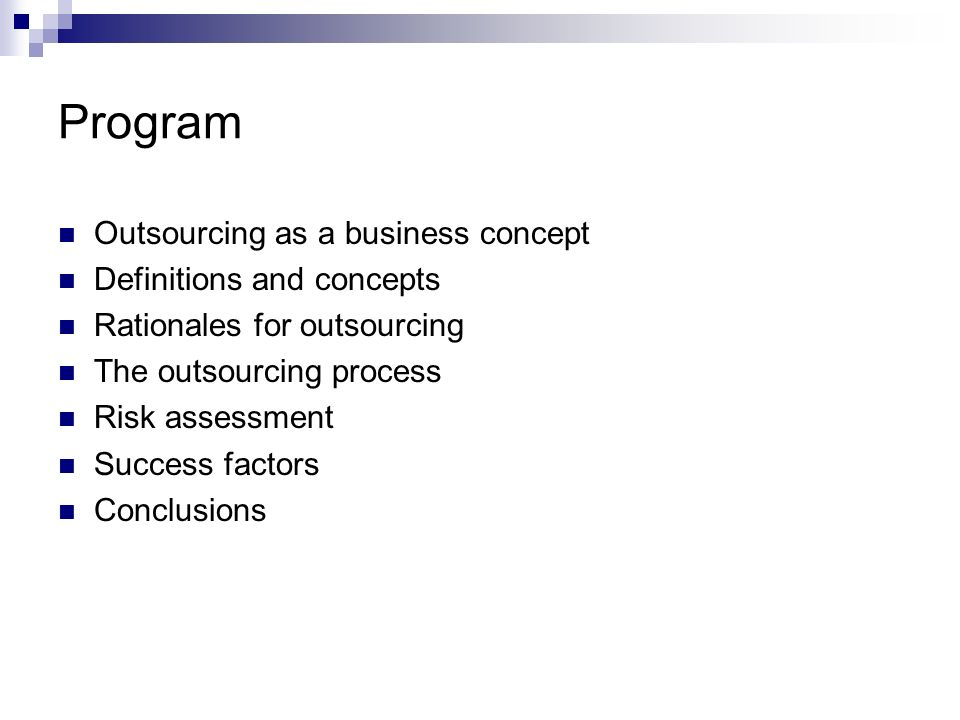 Program Outsourcing as a business concept Definitions and concepts