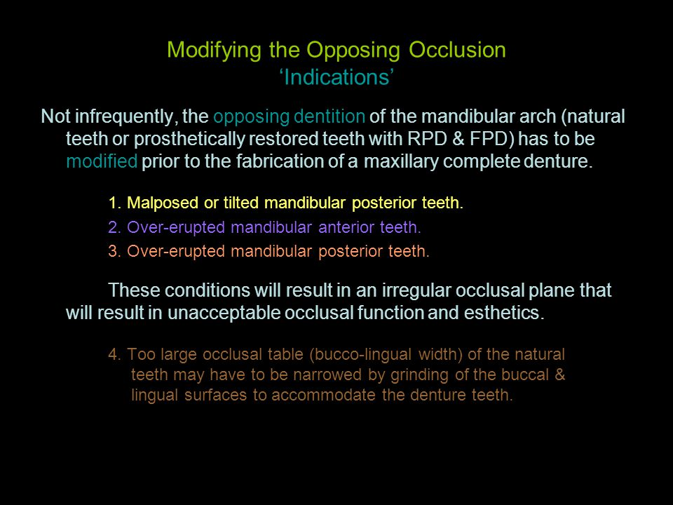 Modifying the Opposing Occlusion 'Indications'