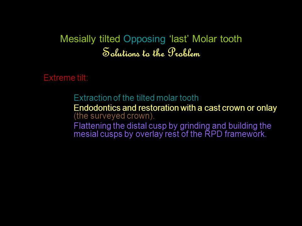 Mesially tilted Opposing 'last' Molar tooth Solutions to the Problem