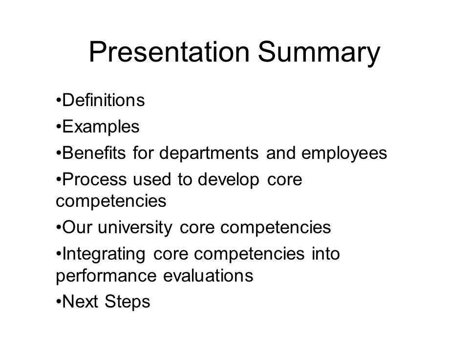 Presentation Summary Definitions Examples