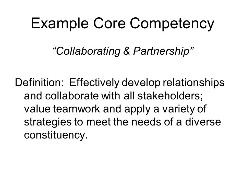 Example Core Competency