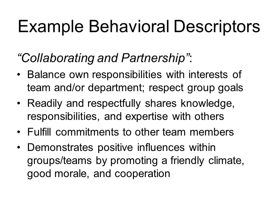 Example Behavioral Descriptors