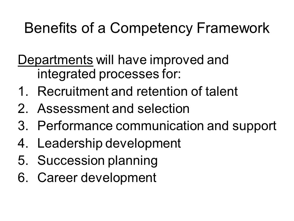 Benefits of a Competency Framework