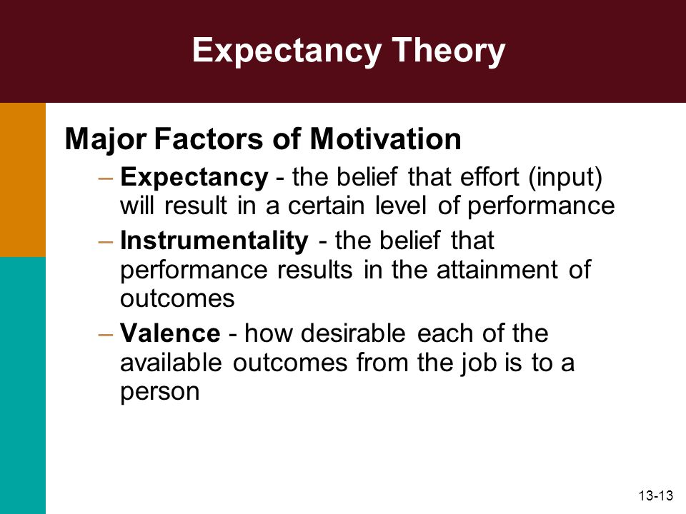 Expectancy Theory Major Factors of Motivation