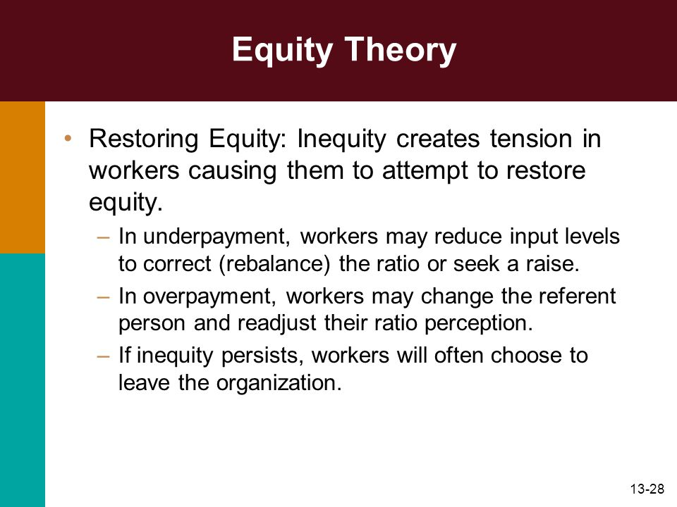 Equity Theory Restoring Equity: Inequity creates tension in workers causing them to attempt to restore equity.
