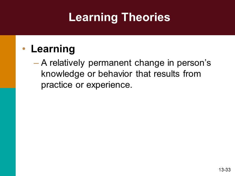 Learning Theories Learning
