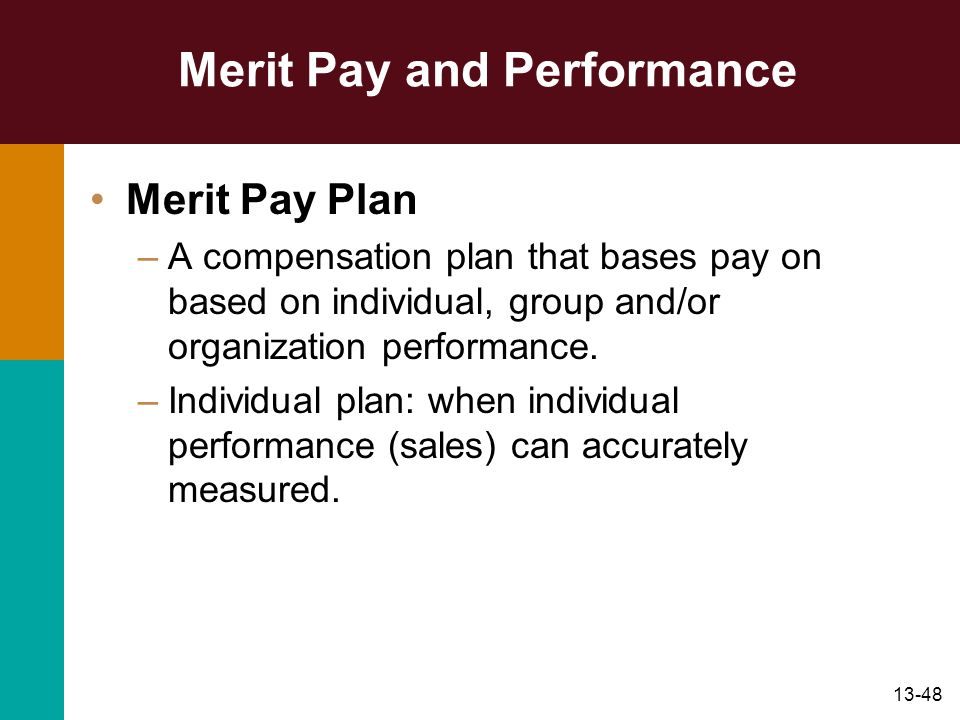 Merit Pay and Performance
