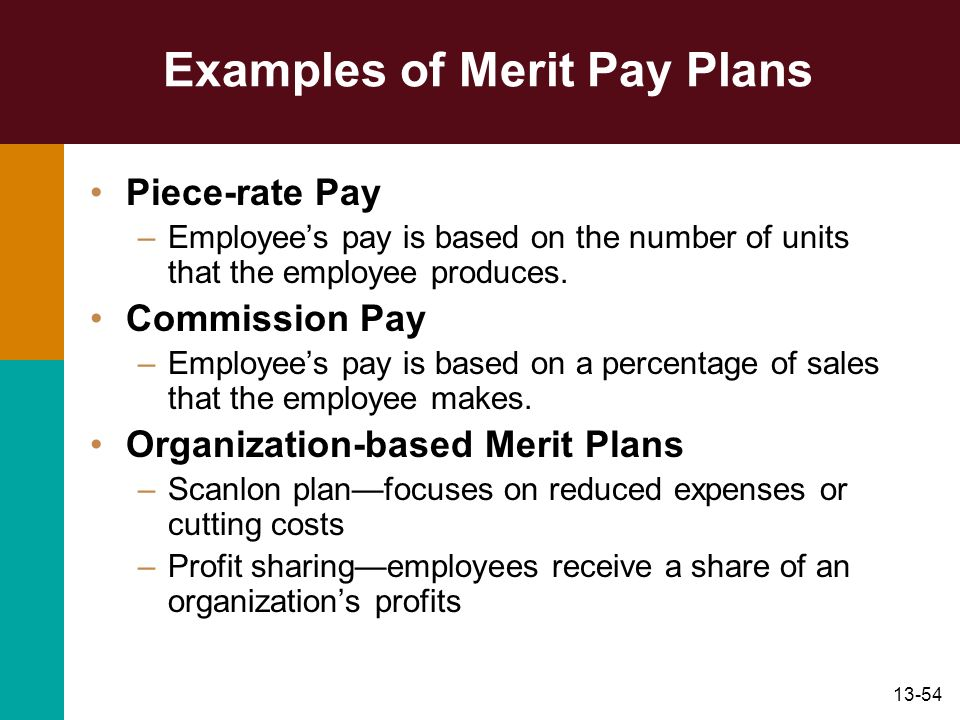 Examples of Merit Pay Plans