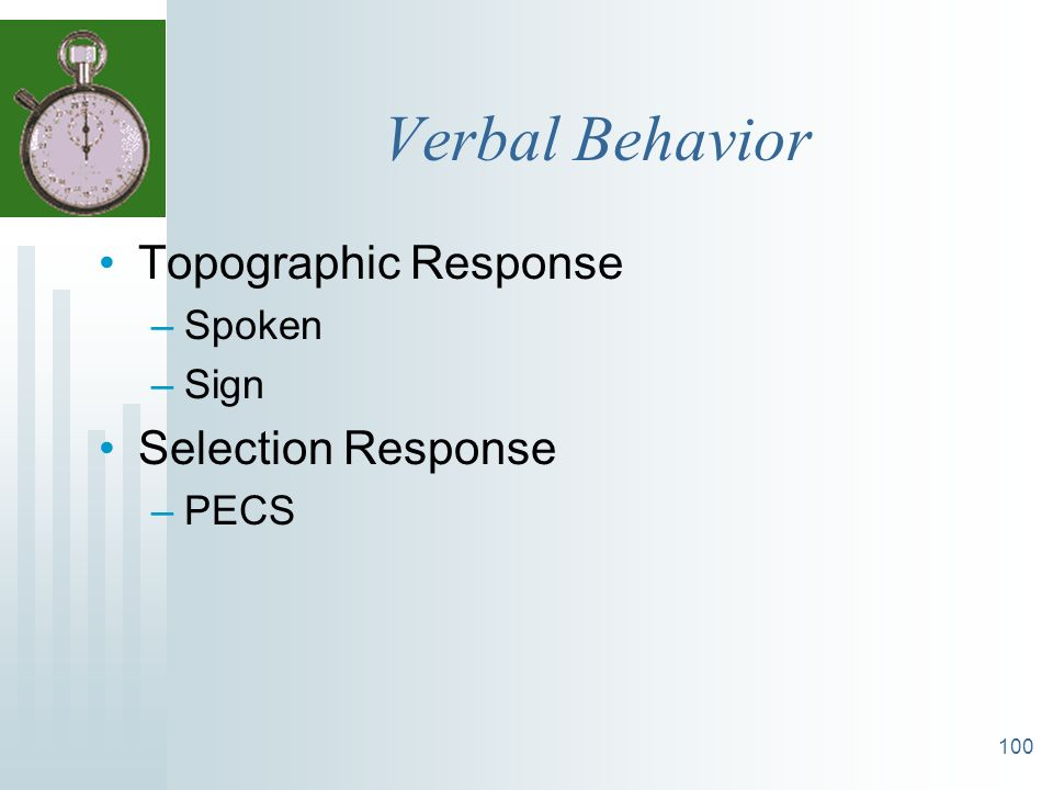 Verbal Behavior Topographic Response Selection Response Spoken Sign