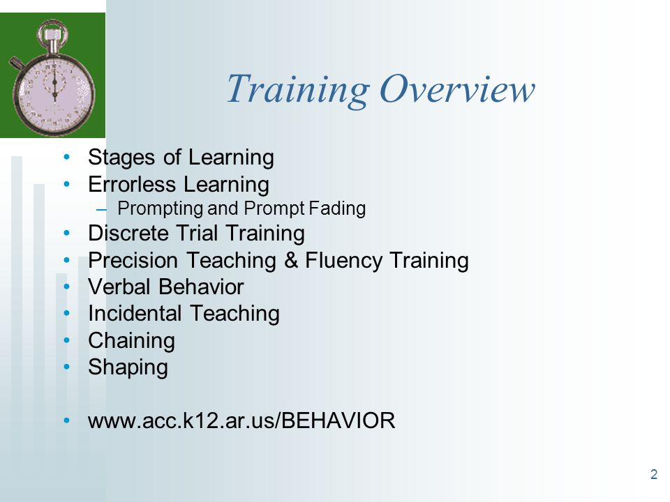Training Overview Stages of Learning Errorless Learning