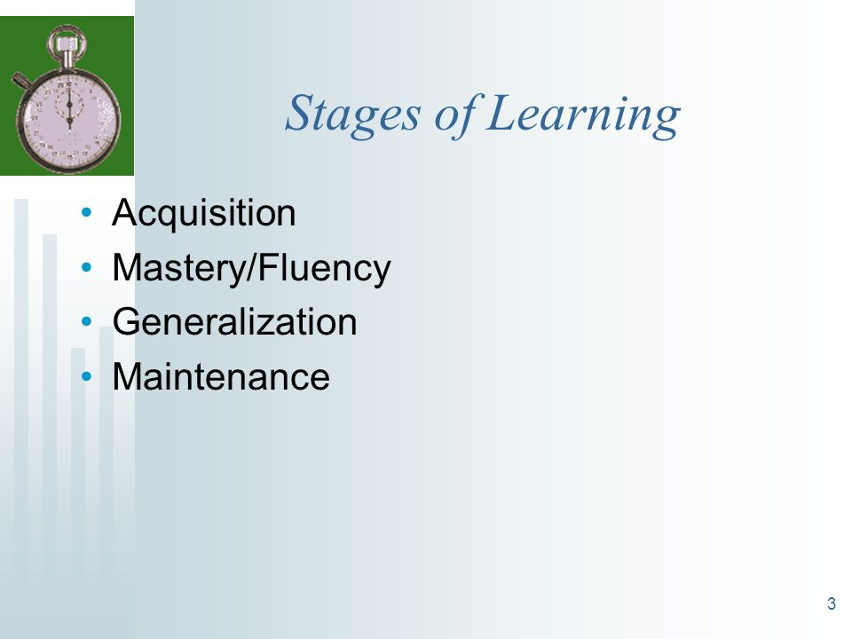 Stages of Learning Acquisition Mastery/Fluency Generalization