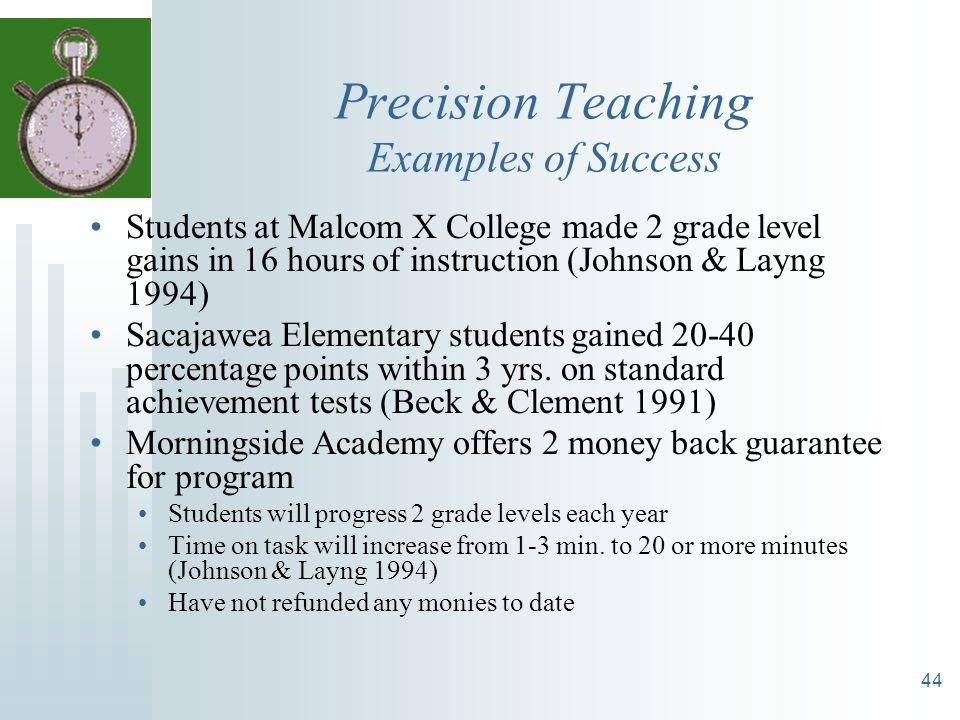 Precision Teaching Examples of Success