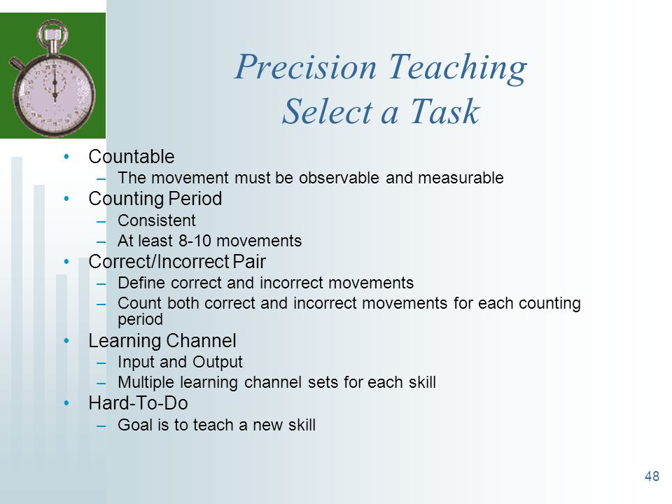 Precision Teaching Select a Task