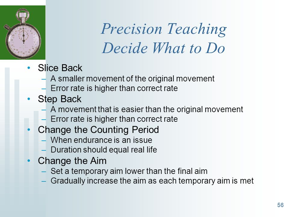 Precision Teaching Decide What to Do