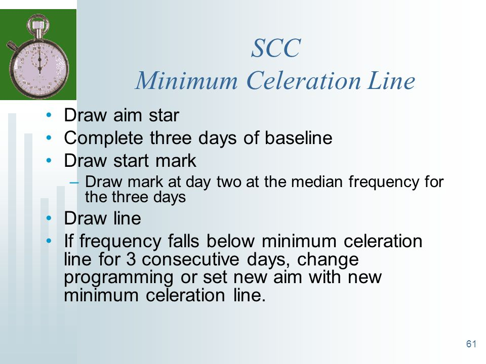 SCC Minimum Celeration Line