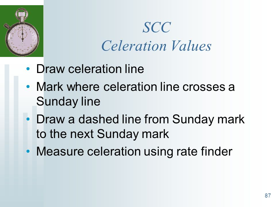 SCC Celeration Values Draw celeration line