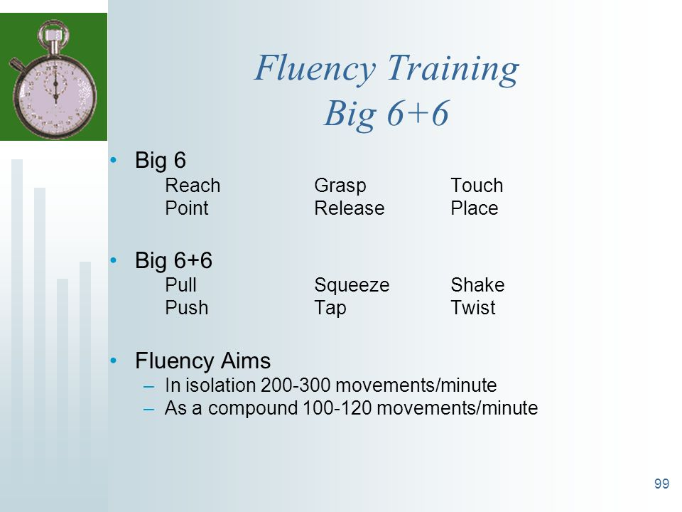 Fluency Training Big 6+6 Big 6 Big 6+6 Fluency Aims Reach Grasp Touch