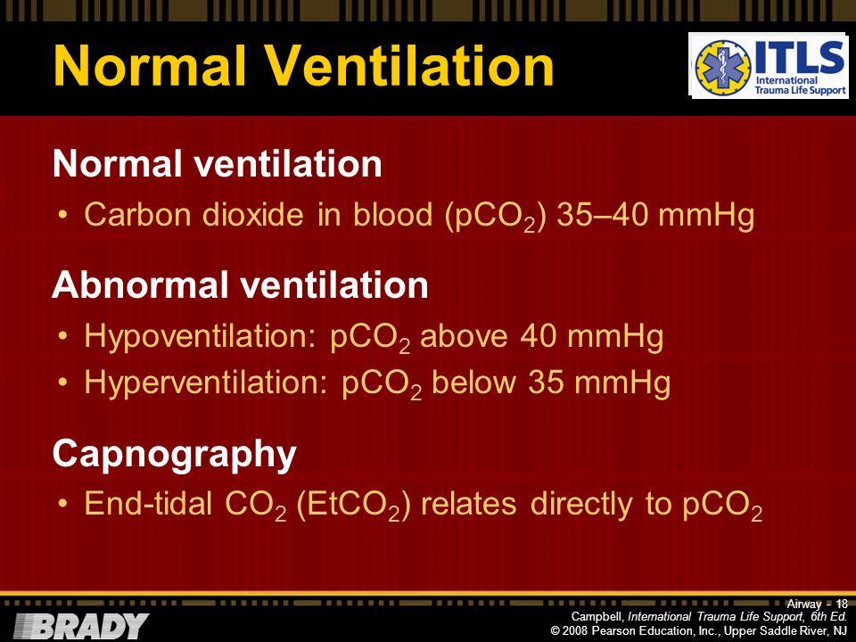 Normal Ventilation Normal ventilation Abnormal ventilation Capnography