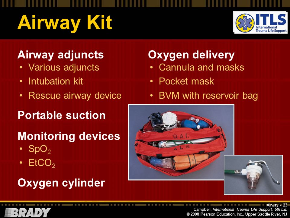 Airway Kit Airway adjuncts Portable suction Monitoring devices
