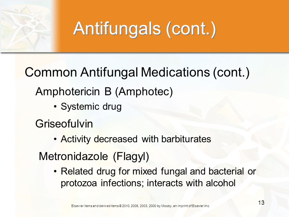 Antifungals (cont.) Common Antifungal Medications (cont.)