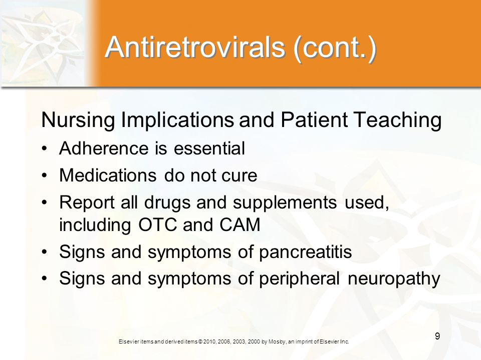 Antiretrovirals (cont.)