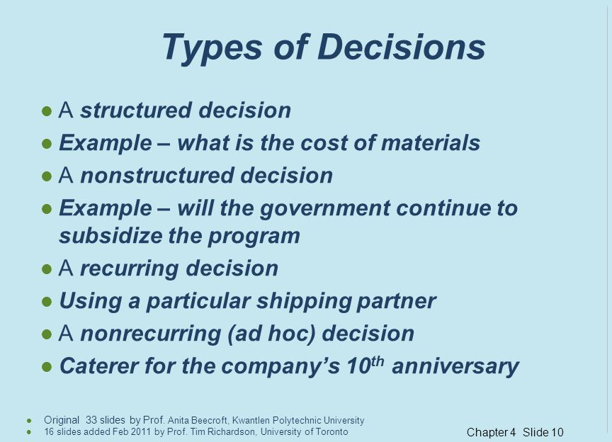 Types of Decisions A structured decision