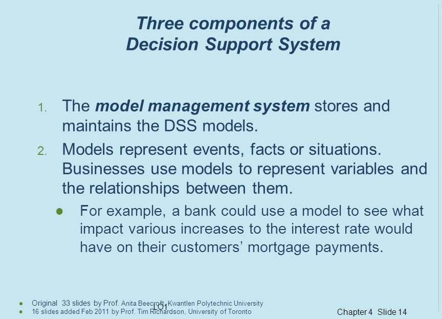 Three components of a Decision Support System
