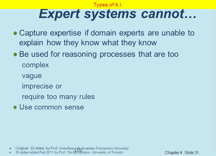 Expert systems cannot…