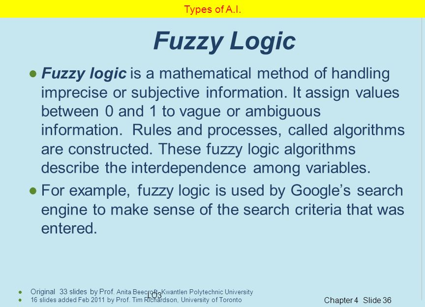 Types of A.I. Fuzzy Logic.