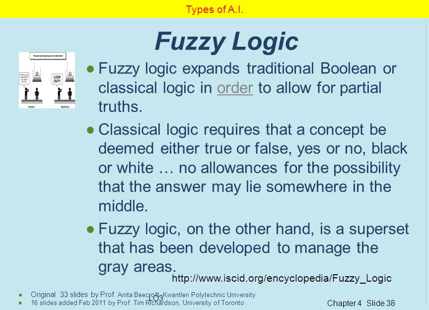 Types of A.I. Fuzzy Logic. Fuzzy logic expands traditional Boolean or classical logic in order to allow for partial truths.
