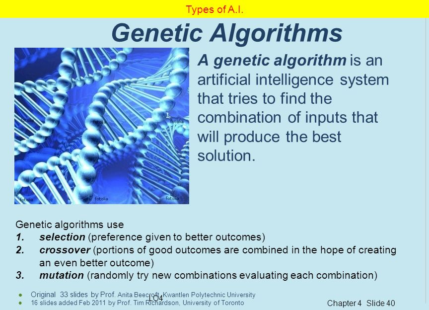 Types of A.I. Genetic Algorithms.