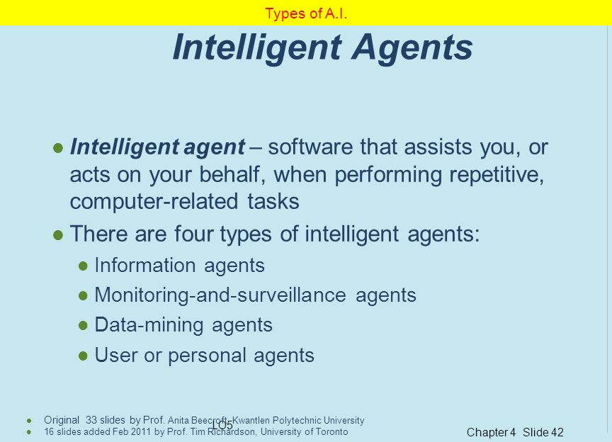Types of A.I. Intelligent Agents.
