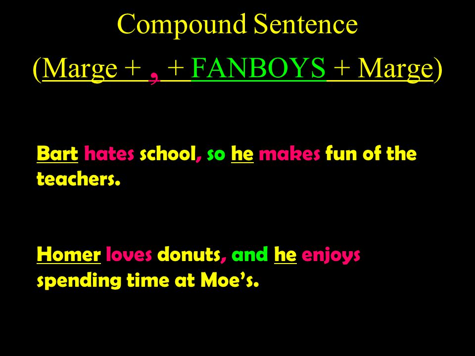 Compound Sentence (Marge + , + FANBOYS + Marge)