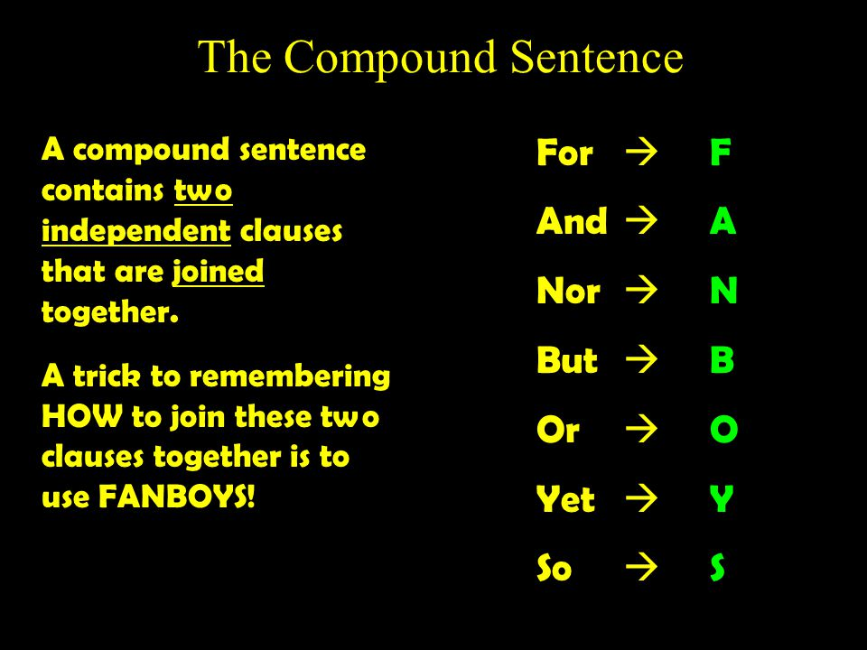 The Compound Sentence For  F And  A Nor  N But  B Or  O Yet  Y